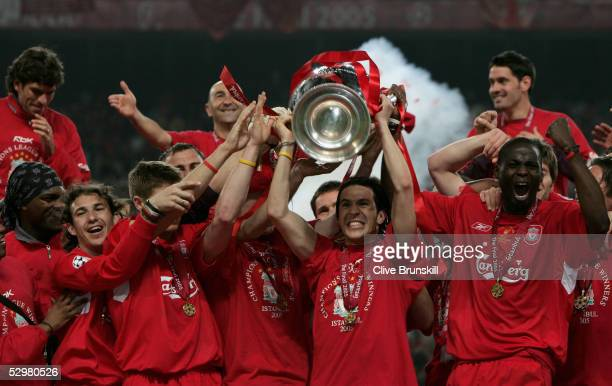 Liverpool forward Luis Garcia of Spain lifts the European Cup after Liverpool won the European Champions League final between Liverpool and AC Milan...