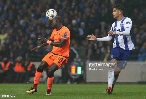 Liverpool forward Sadio Mane from Senegal with FC Porto defender Diego Reyes from Mexico in action during the UEFA Champions League Round of 16 First...