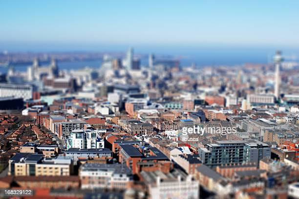 Liverpool from above, tilt-shift lens effect
