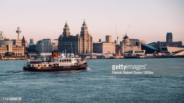 liverpool from seacombe ferry, uk - merseyside stock pictures, royalty-free photos & images