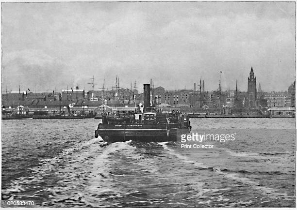 Liverpool from the Mersey' circa 1896 From Pictorial England and Wales [Cassell and Company Limited London Paris Melbourne circa 1896] Artist...