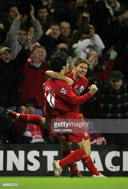 Liverpool goal scorer Luis Garcia is congratulated by his Captain Steven Gerrard during the Barclays Premiership match between Liverpool and Arsenal...