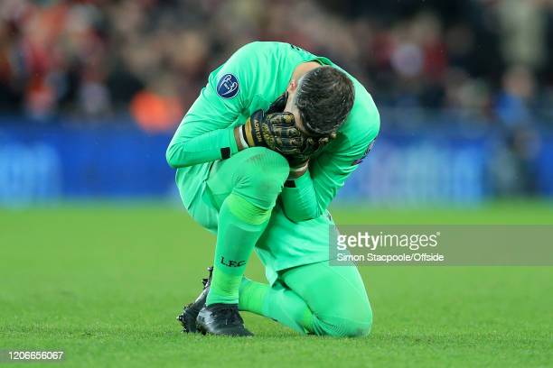 Liverpool goalkeeper Adrian looks dejected during the UEFA Champions League round of 16 second leg match between Liverpool FC and Atletico Madrid at...