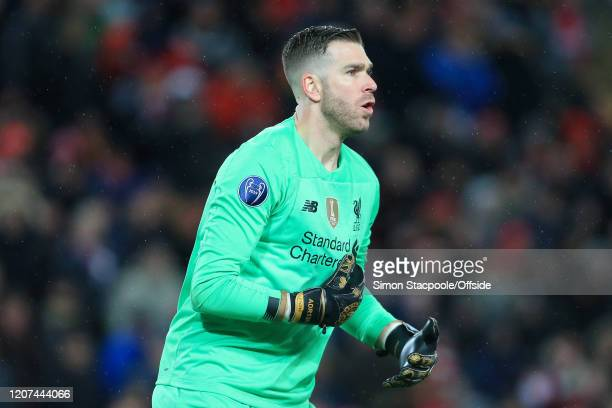 Liverpool goalkeeper Adrian looks on during the UEFA Champions League round of 16 second leg match between Liverpool FC and Atletico Madrid at...