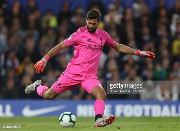 Liverpool goalkeeper Alisson Becker in action Chelsea v Liverpool Premier League Stamford Bridge