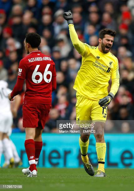 Liverpool goalkeeper Alisson Becker reacts negativity to Burnley's first goal of the game Liverpool v Burnley Premier League Anfield