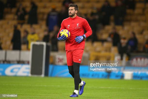 Liverpool goalkeeper Alisson Becker warms up prior to the match Wolverhampton Wanderers v Liverpool Premier League Molineux