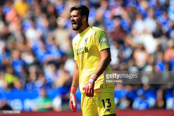 Liverpool goalkeeper Alisson during the Premier League match between Leicester City and Liverpool FC at The King Power Stadium on September 1 2018 in...