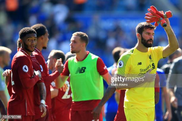 Liverpool goalkeeper Alisson reacts during the Premier League match between Leicester City and Liverpool FC at The King Power Stadium on September 1...