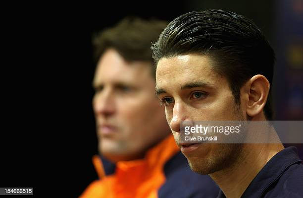Liverpool goalkeeper Brad Jones and Liverpool assistant manager Colin Pascoe answer questions during a press conference ahead of their UEFA Europa...
