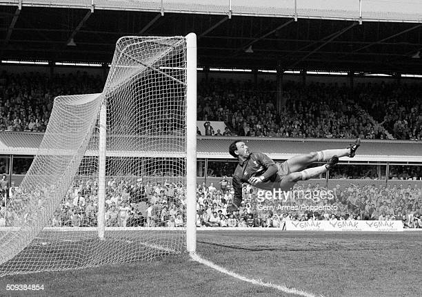 Liverpool goalkeeper Bruce Grobbelaar in action during their First Division match against Birmingham City at St Andrews in Birmingham 5th May 1984...