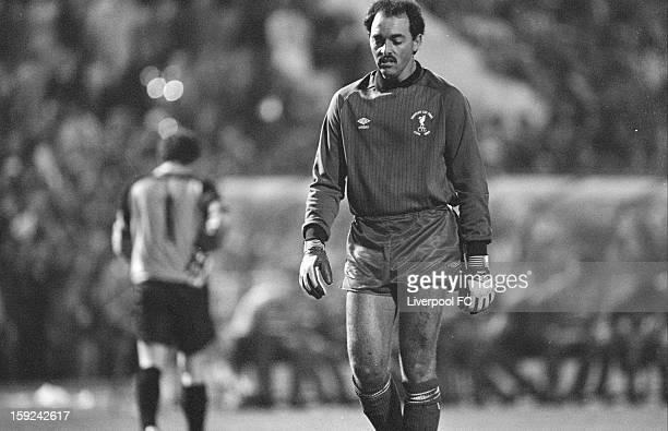 Liverpool goalkeeper Bruce Grobbelaar prepares to face penalties to decide the game during the UEFA European Cup Final between AS Roma and Liverpool...