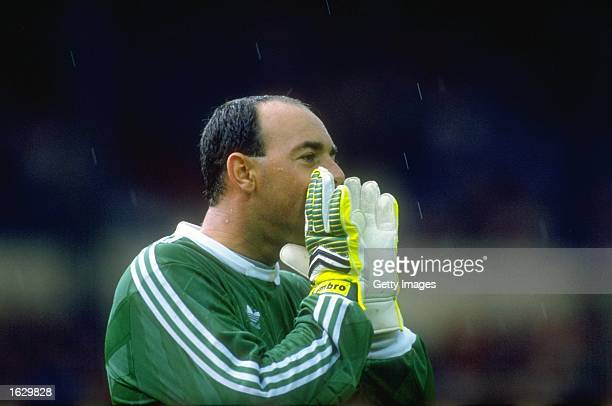 Liverpool goalkeeper Bruce Grobbelaar shouts to his team mates during the FA Charity Shield match against Wimbledon at Wembley Stadium in London...