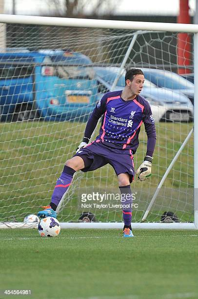 Liverpool goalkeeper Dan Ward in action during the Barclays Premier League Under 21 fixture between Liverpool and Bolton Wanderers at the Liverpool...