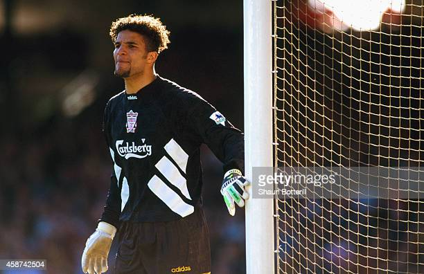 Liverpool goalkeeper David James in action during a Premier League game between Arsenal and Liverpool at Highbury on March 26, 1994 in London,...