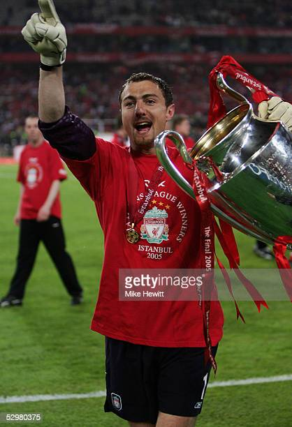 Liverpool goalkeeper Jerzy Dudek of Poland lifts the European Cup after Liverpool won the European Champions League final against AC Milan on May 25...