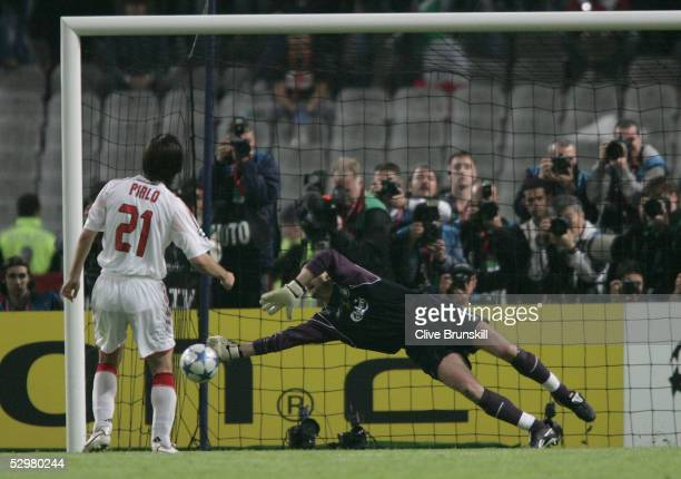 Liverpool goalkeeper Jerzy Dudek of Poland saves a penalty during a penalty shoot out during the European Champions League final between Liverpool...