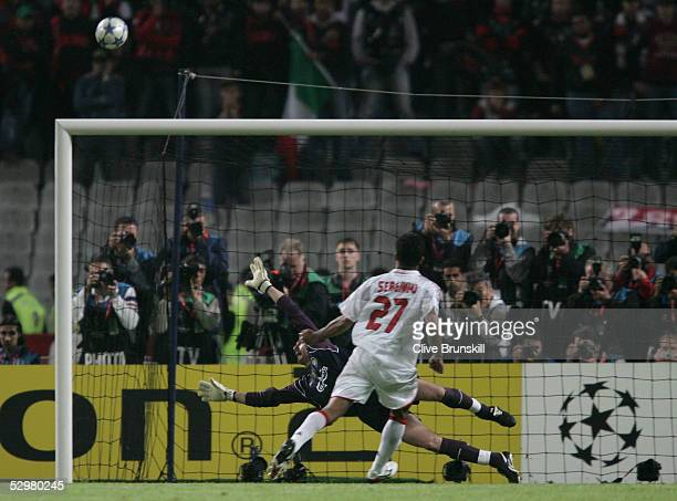 Liverpool goalkeeper Jerzy Dudek of Poland saves a penalty from AC Milan midfielder Andrea Pirlo during a penalty shoot out during the European...
