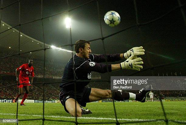 Liverpool goalkeeper Jerzy Dudek of Poland saves the ball during the European Champions League final between Liverpool and AC Milan on May 25 2005 at...