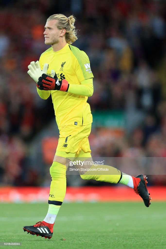 Liverpool goalkeeper Loris Karius comes on as a substitute during the pre-season friendly match between Liverpool and Torino at Anfield on August 7, 2018 in Liverpool, England.