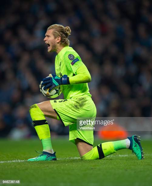 Liverpool goalkeeper Loris Karius during the UEFA Champions League quarter final 2nd leg tie between Manchester City and Liverpool at the Etihad...