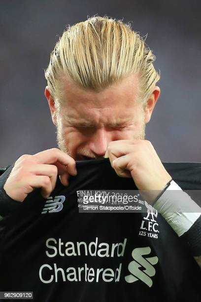 Liverpool goalkeeper Loris Karius looks dejected after the UEFA Champions League Final match between Real Madrid and Liverpool at the NSC Olimpiyskiy...