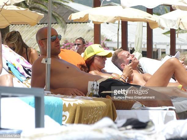 Liverpool goalkeeper Pepe Reina and his wife Yolanda Ruiz are seen on July 3 2013 in Ibiza Spain
