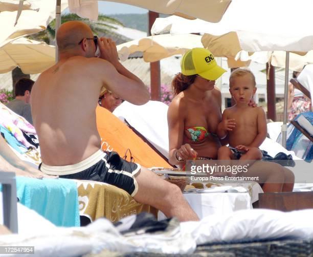 Liverpool goalkeeper Pepe Reina his wife Yolanda Ruiz and their children are seen on July 3 2013 in Ibiza Spain