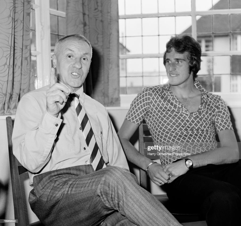Football. March 1976. Liverpool's Ray Clemence listens to his Manager Bill Shankly, talking football. : News Photo