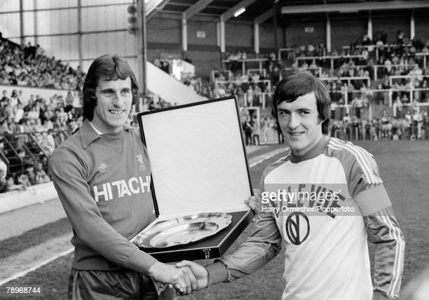 Football 14th May 1980 Anfield Liverpool Liverpool goalkeeper Ray Clemence is presented with a silver plate before his testimonial game by Belgiums...