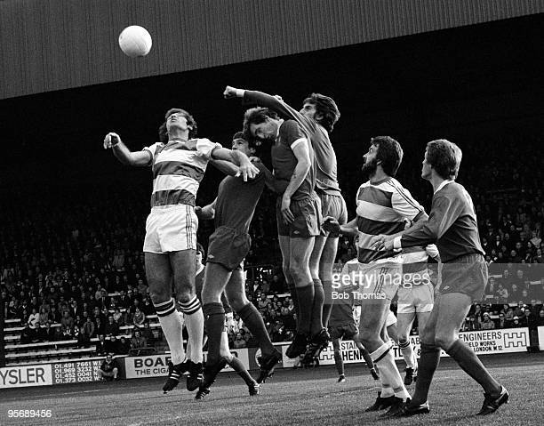 Liverpool goalkeeper Ray Clemence punches the ball away during their First Division league match against Queens Park Rangers at Loftus Road in London...