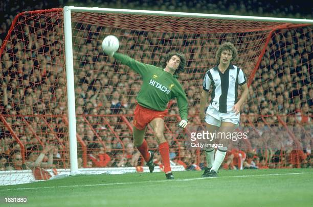 Liverpool Goalkeeper Ray Clemence throws upfield during a match against West Bromwich Albion at Anfield in Liverpool England Mandatory Credit...