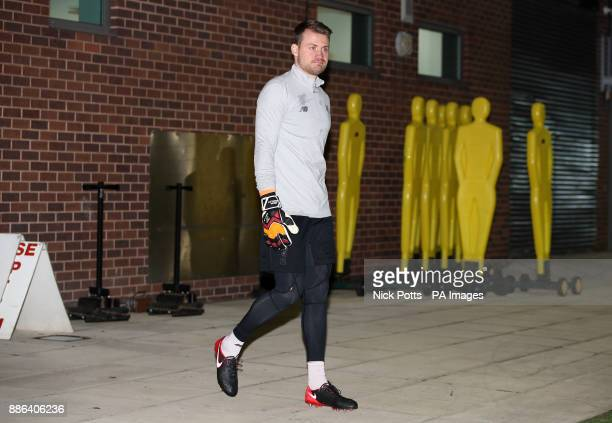Liverpool goalkeeper Simon Mignolet during a training session at Melwood Training Ground Liverpool