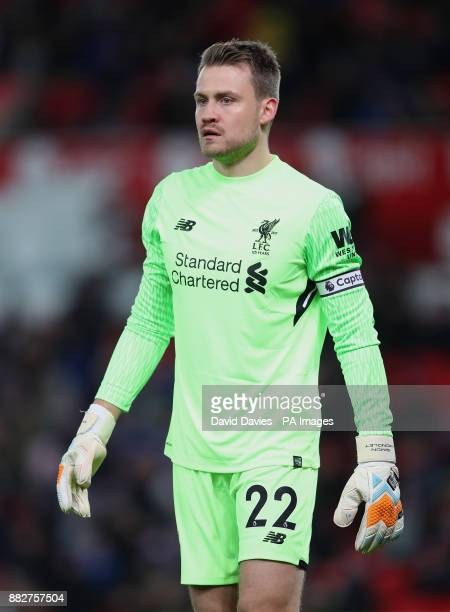 Liverpool goalkeeper Simon Mignolet during the Premier League match at the bet365 Stadium Stoke PRESS ASSOCIATION Photo Picture date Wednesday...