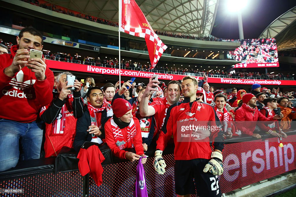 Liverpool goalkeeper Simon Mignolet interacts with fans after the international friendly match between Adelaide United and Liverpool FC at Adelaide Oval on July 20, 2015 in Adelaide, Australia.
