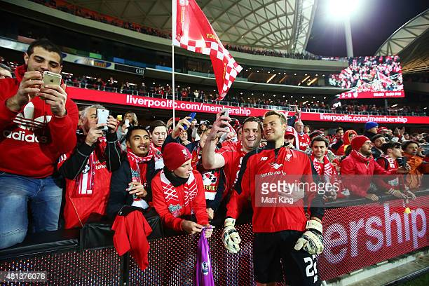 Liverpool goalkeeper Simon Mignolet interacts with fans after the international friendly match between Adelaide United and Liverpool FC at Adelaide...