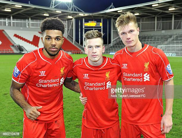 Liverpool goalscorers Jerome Sinclair Ryan Kent and Daniel Cleary pose for a photo after the UEFA Youth League fixture between Liverpool and FC Basel...