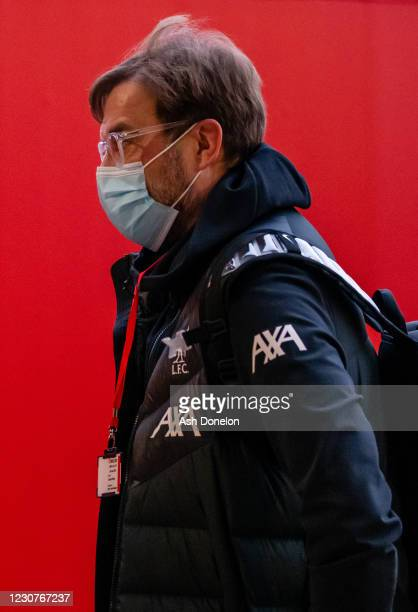 Liverpool Head Coach / Manager Jurgen Klopp arrives prior to the Emirates FA Cup Fourth Round match between Manchester United and Liverpool at Old...
