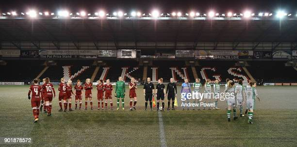 Liverpool Ladies and Yeovil Town Ladies line up before the FA Women's Super League match between Liverpool Ladies and Yeovil Town Ladies at Select...