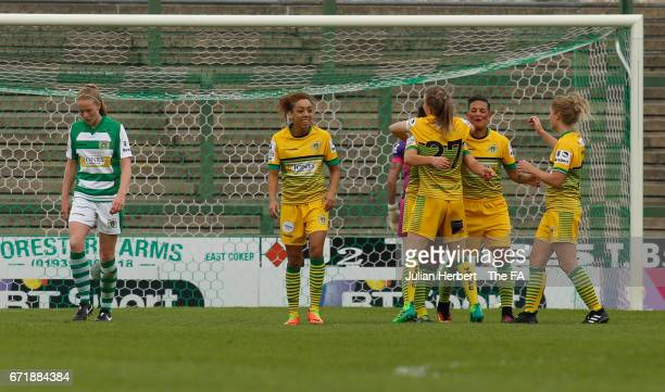 Liverpool Ladies FC celebrate their 4th goal during the WSL Spring Series Match between Yeovil Town Ladies and Liverpool Ladies at Huish Park on...