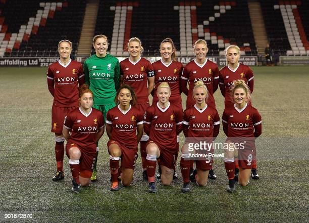 Liverpool Ladies line up before the FA Women's Super League match between Liverpool Ladies and Yeovil Town Ladies at Select Security Stadium on...