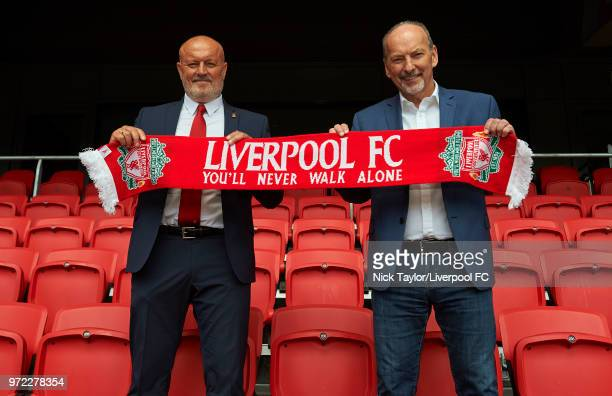Liverpool Ladies new manager Neil Redfearn with Liverpool FC CEO Peter Moore at Anfield on June 8 2018 in Liverpool England
