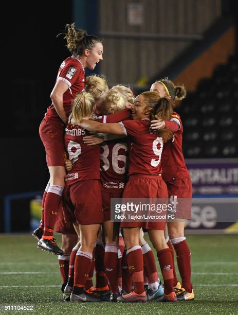 Liverpool Ladies players celebrate Bethany England's second goal of the game Caroline Weir Laura Coombs Ashley Hodson and Jess Clarke during the...