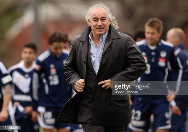 Liverpool legend Craig Johnston walks off after speaking with Victory players during a Melbourne Victory training session at Gosch's Paddock on July...