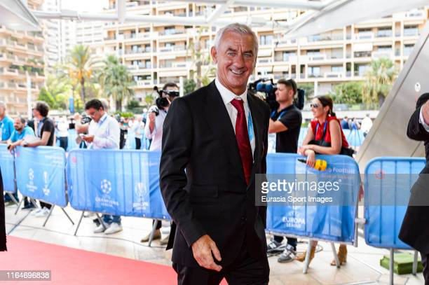 Liverpool legend Ian Rush poses for photos in the red carpet during the KickOff 2019/2020 UEFA Champions League Draw on August 29 2019 in Monaco...