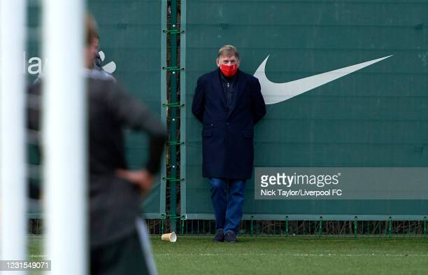 Liverpool legend Sir Kenny Dalglish watches the action during the U18 Premier League game between Liverpool and Manchester United at AXA Training...