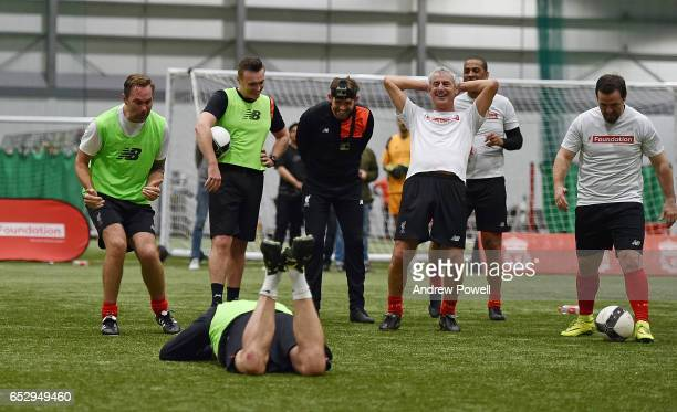 Liverpool Legends Jason McAteer and Ian Rush react to John Aldridge during a training session at Liverpool FC Academy on March 13 2017 in Kirkby...