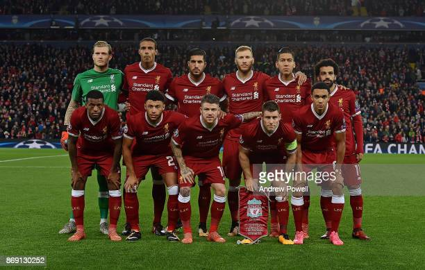 Liverpool line up before the UEFA Champions League group E match between Liverpool FC and NK Maribor at Anfield on November 1 2017 in Liverpool...