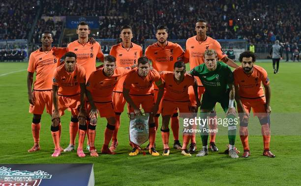 Liverpool line up before the UEFA Champions League group E match between NK Maribor and Liverpool FC at Stadion Ljudski vrt on October 17 2017 in...