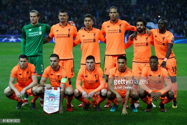 Liverpool line up during the UEFA Champions League Round of 16 First Leg match between FC Porto and Liverpool at Estadio do Dragao on February 14...
